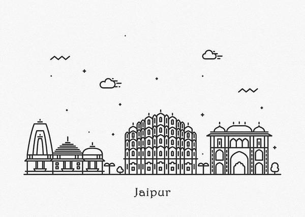 Landmark Center Drawing - Jaipur Cityscape Travel Poster by Inspirowl Design