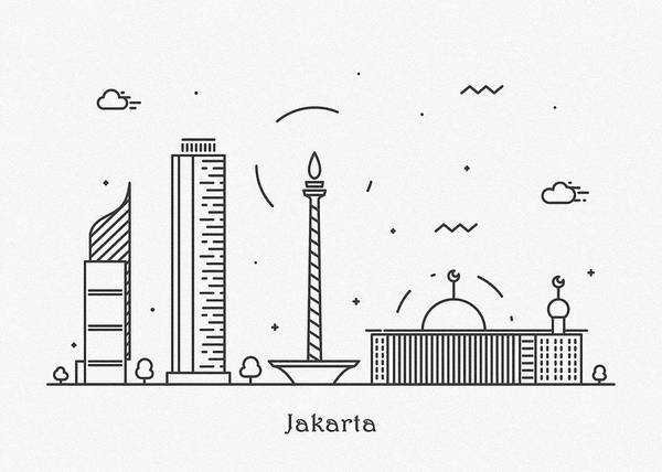 Landmark Center Drawing - Jakarta Cityscape Travel Poster by Inspirowl Design