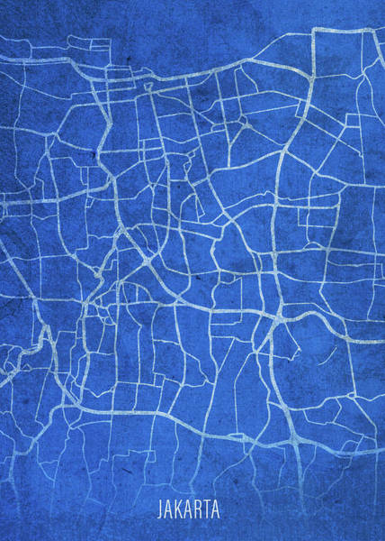 Wall Art - Mixed Media - Jakarta Indonesia City Street Map Blueprints by Design Turnpike