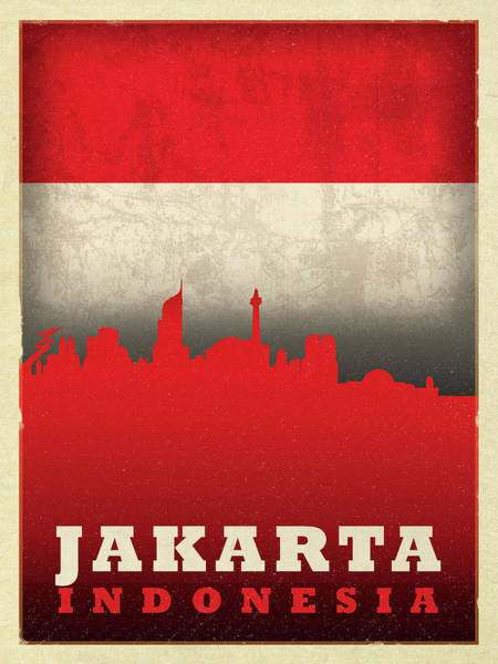Wall Art - Mixed Media - Jakarta Indonesia World City Flag Skyline by Design Turnpike
