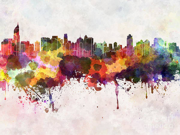 Wall Art - Digital Art - Jakarta Skyline In Watercolor Background by Cristina Romero Palma