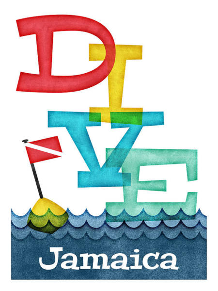 Jamaica Digital Art - Jamaica Dive - Colorful Scuba by Flo Karp