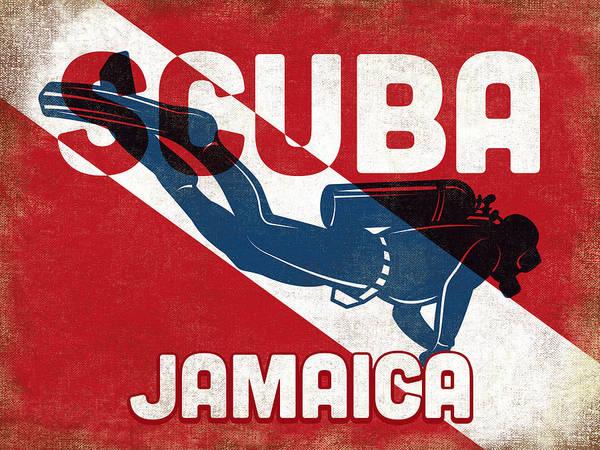 Jamaica Digital Art - Jamaica Scuba Diver - Blue Retro by Flo Karp