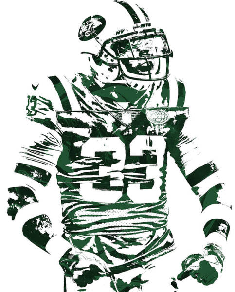 Wall Art - Mixed Media - Jamal Adams New York Jets Pixel Art 2 by Joe Hamilton