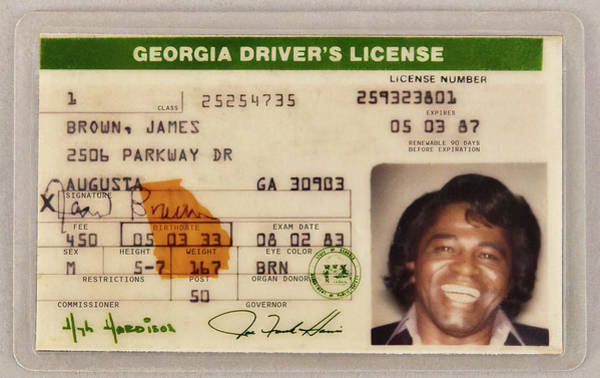 Wall Art - Photograph - James Brown Driver License 1983 by Daniel Hagerman