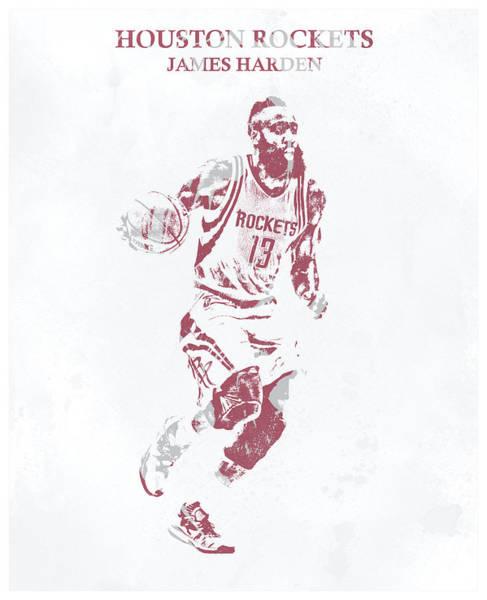 Wall Art - Mixed Media - James Harden Houston Rockets Pixel Art 100 by Joe Hamilton