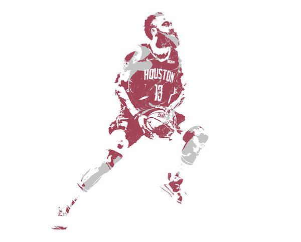 Wall Art - Mixed Media - James Harden Houston Rockets Pixel Art 65 by Joe Hamilton
