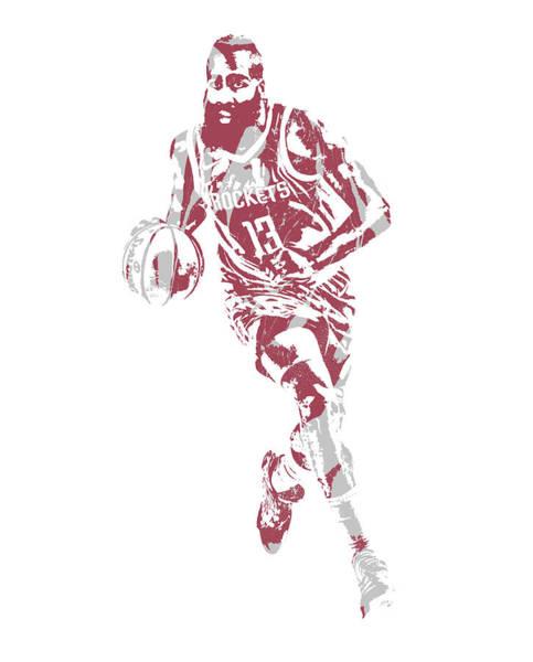 Wall Art - Mixed Media - James Harden Houston Rockets Pixel Art 66 by Joe Hamilton