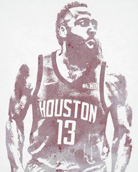 Wall Art - Mixed Media - James Harden Houston Rockets Water Color Pixel Art 20 by Joe Hamilton