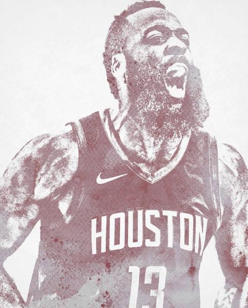 Wall Art - Mixed Media - James Harden Houston Rockets Water Color Pixel Art 22 by Joe Hamilton