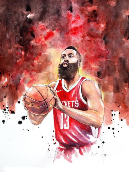 Basketball Painting - James Harden, Nba by Wachira Kacharat