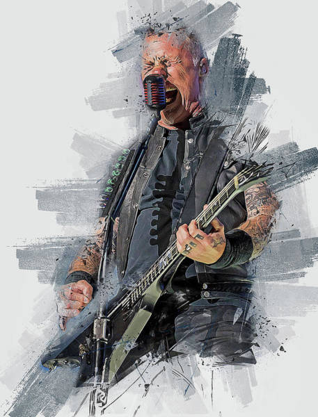 Thrash Metal Painting - James Hetfield - 13  by Andrea Mazzocchetti