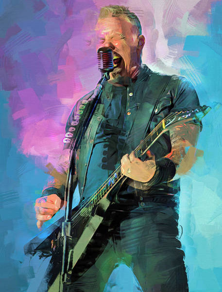 Thrash Metal Wall Art - Mixed Media - James Hetfield, Metallica by Mal Bray