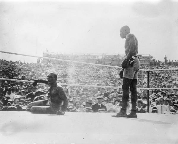 Painting - James Jeffries Vs Jack Johnson, 1910 Reno Nv Boxing - Copy by Celestial Images