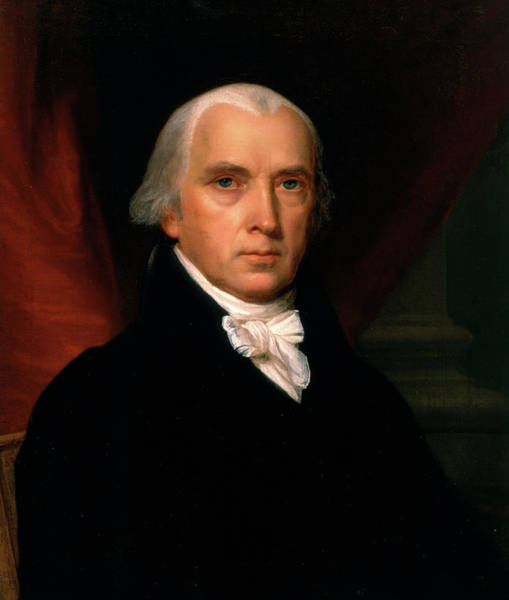 Wall Art - Painting - James Madison, 1816 by John Vanderlyn