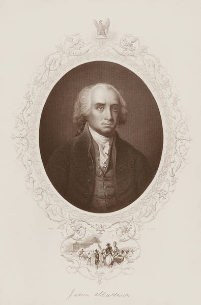 Wall Art - Drawing - James Madison Engraved Portrait by War Is Hell Store