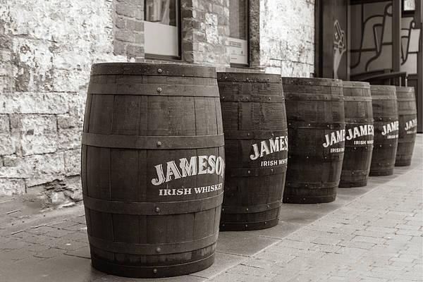 Irish Whiskey Photograph - Jameson Barrels In Sepia by Georgia Fowler