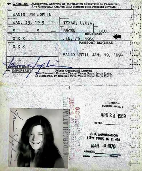 Janis Joplin Photograph - Janis Joplin Passport 1969 by Daniel Hagerman