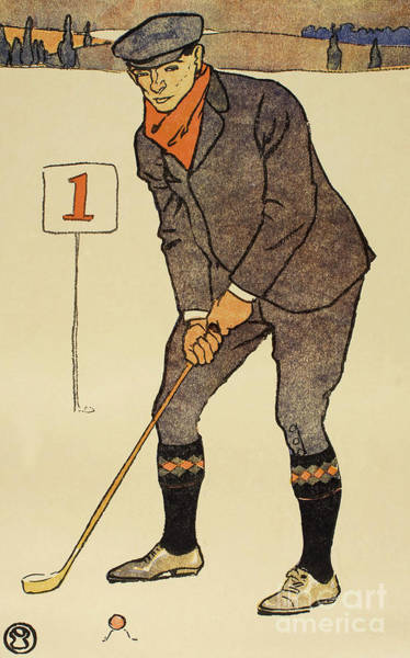 Wall Art - Painting - January, Detail From 1931 Golfing Calendar by Edward Penfield
