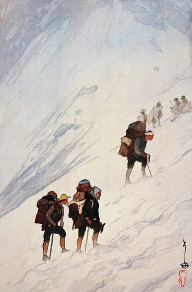Wall Art - Painting - Japan Alps 12scenes, Climbing A Snow Valley At Harinoki - Digital Remastered Edition by Yoshida Hiroshi
