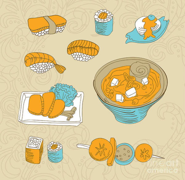 Wall Art - Digital Art - Japan Food Icons - Vector Illustration by Venimo