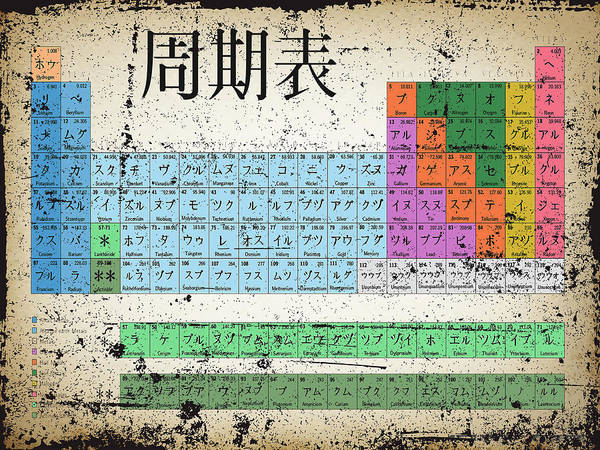 Painting - Japan Japanese Periodic Table Of The Elements Vintage Chart Silver by Tony Rubino