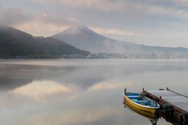 Mt. Adams Photograph - Japan, Lake Kawaguchi, Mount Fuji In by Peter Adams