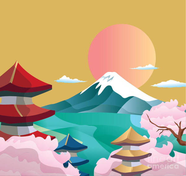 Wall Art - Digital Art - Japan Style Buildings And Fuji Mountain by Takiwa