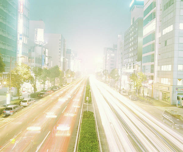 Rush Hour Photograph - Japan, Tokyo, Aoyama, Street Traffic At by Taizan Kamijo