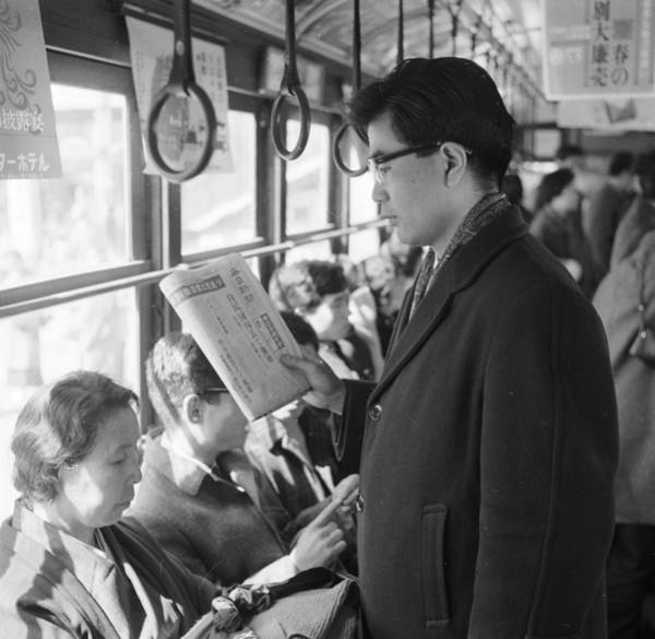 Newspaper Photograph - Japanese Bus Ride by Evans