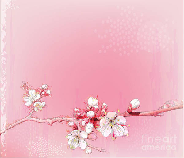 Peach Flower Wall Art - Digital Art - Japanese Cherry Blossoms In Full Bloom by Reshetnyova Oxana