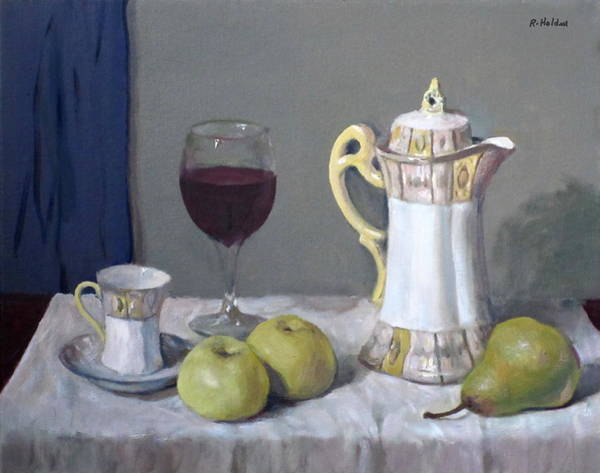 Made In Japan Wall Art - Painting - Japanese Chocolate Pot, Wine And Fruit by Robert Holden