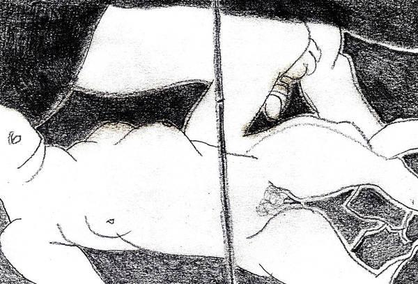 Drawing - Japanese Erotic Print Pencil Drawing by Artist Dot