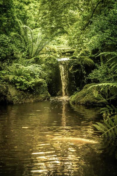 Wall Art - Photograph - Waterfall In Portland Japanese Garden by Art Spectrum