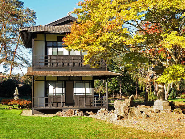 Photograph - Japanese Garden Tea House In Autumn by Gill Billington