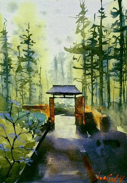 Redwood City Wall Art - Painting - Japanese Gardens by Max Good