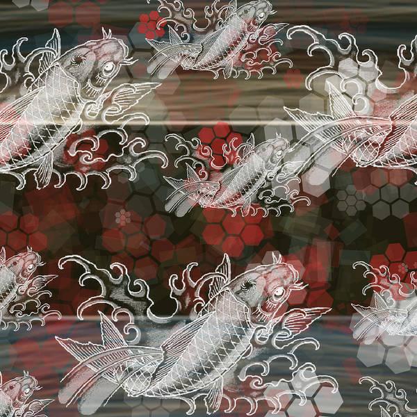 Wall Art - Painting - Japanese Koi Fish Pattern  by Marshal James