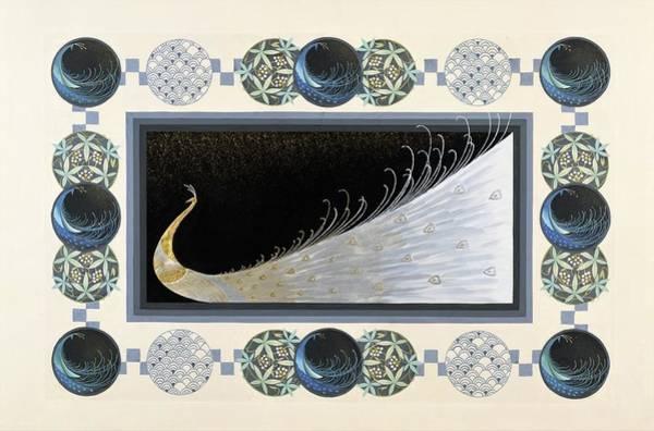 White Peacock Painting - Japanese Modern Interior Art #159 by ArtMarketJapan