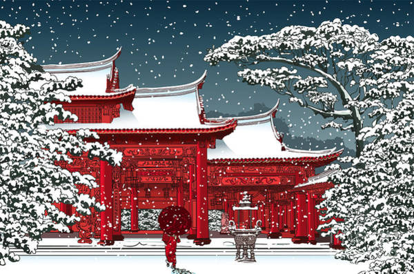 East Asian Culture Wall Art - Digital Art - Japanese Or Chinese Temple Under Snow - by Isaxar