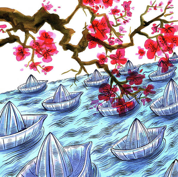 Journey Digital Art - Japanese Origami Boats And Cherry by Foto Bureau Nz Limited