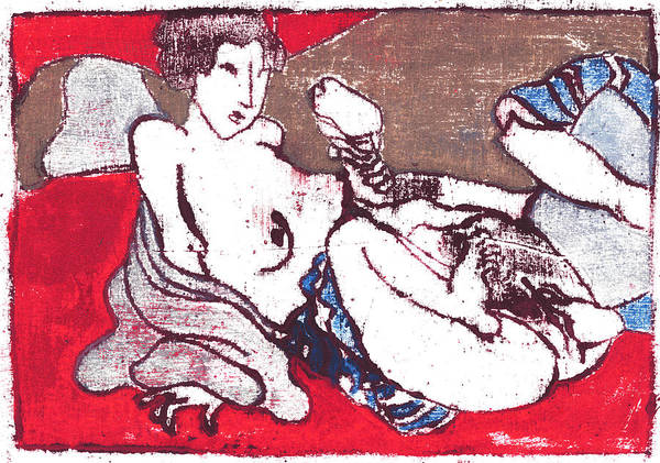 Painting - Japanese Print 10 Erotic Female Nude by Artist Dot