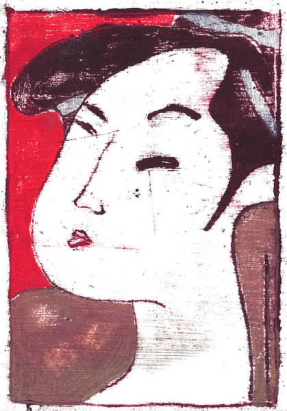 Painting - Japanese Print 15 - Red Female Portrait by Artist Dot