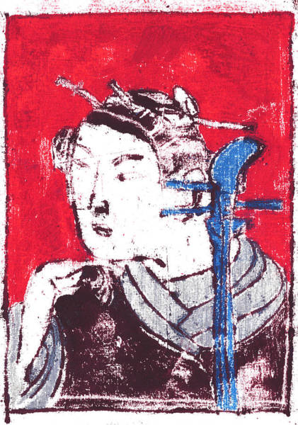 Painting - Japanese Print 16 - Musician Portrait On Red by Artist Dot