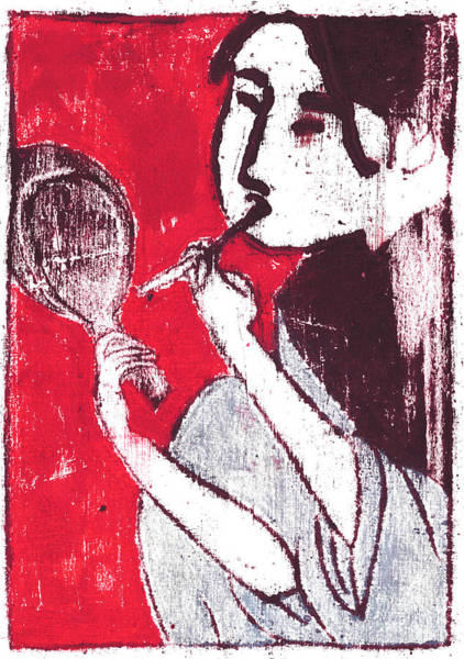 Painting - Japanese Print 5 - Make Up In The Mirror by Artist Dot