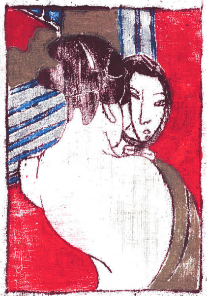 Painting - Japanese Print 6 - Make Up In The Mirror by Artist Dot