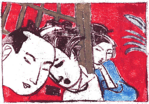 Painting - Japanese Print 7 - Secret Discussion by Artist Dot