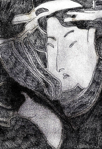Drawing - Japanese Print Pencil Drawing 12 by Artist Dot
