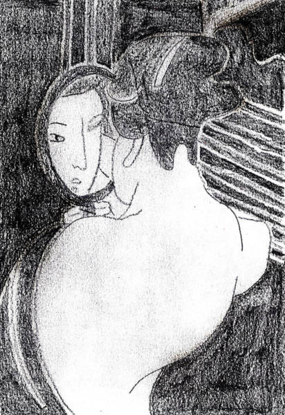 Drawing - Japanese Print Pencil Drawing 13 by Artist Dot
