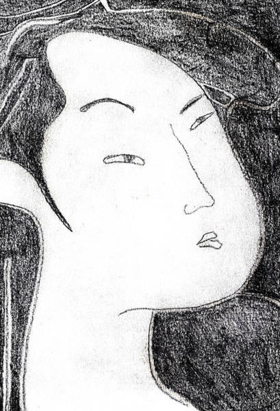 Drawing - Japanese Print Pencil Drawing 14 by Artist Dot