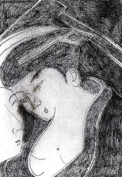 Drawing - Japanese Print Pencil Drawing 6 by Artist Dot